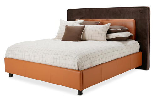 Aico 21 Cosmopolitan Eastern King Upholstered Tufted Bed in Orange/Umber 9029000EKT-812 image