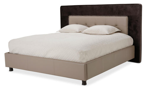Aico 21 Cosmopolitan Eastern King Upholstered Tufted Bed in Taupe/Umber 9029000EKT-212 image