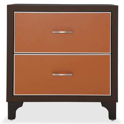 Aico 21 Cosmopolitan 2 Drawer Nightstand in Orange/Umber 9029040-812 image