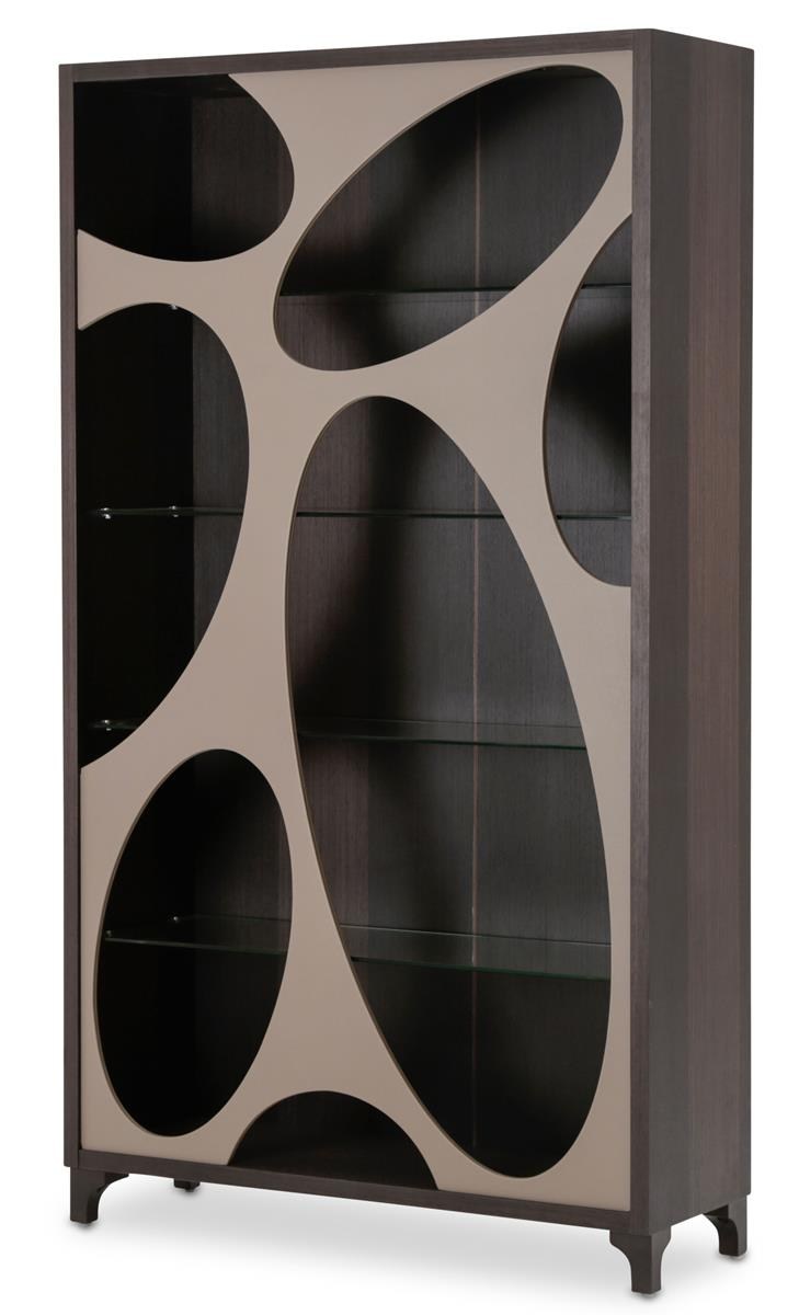 Aico 21 Cosmopolitan Curio Side Cabinet in Taupe/Umber 9029505S-212 image