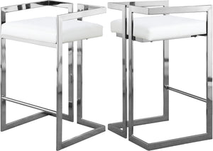 Ezra White Faux Leather Stool
