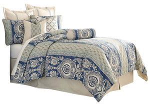 AICO La Rochelle 9-pc Queen Comforter Set in Cadet BCS-QS09-LARCH-CAD image