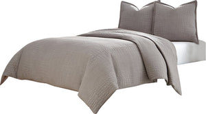 AICO Trent 3-pc King Coverlet/Duvet Set in Gray BCS-KD03-TRENT-GRY image
