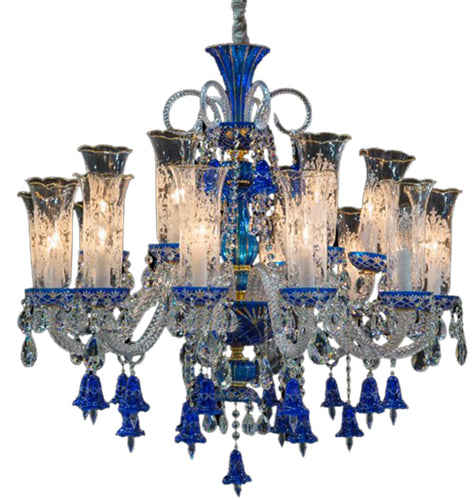 Aico Lighting Winter Palace 18 Light Chandelier in Blue, Clear and Gold LT-CH928-18GLD image
