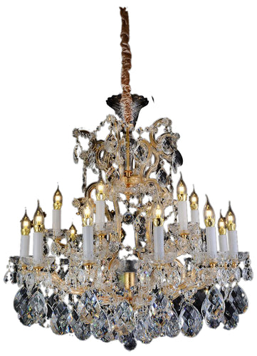 Aico Lighting San Carlo 19 Light Chandelier in Clear and Gold LT-CH914-19CLR image