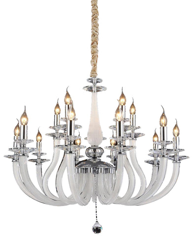 Aico Lighting San Marco 15 Light Chandelier in Opalescent and Chrome LT-CH907-15OPL image