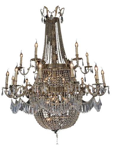 Aico Lighting Summer Place 30 Light Chandelier in Clear and Antique LT-CH906-30ABR image
