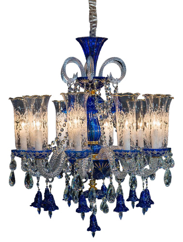 Aico Lighting Winter Palace 10 Light Chandelier in Blue, Clear and Gold LT-CH927-10GLD image
