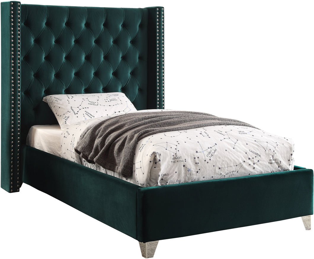 Aiden Green Velvet Twin Bed