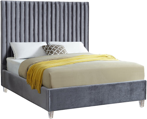 Candace Grey Velvet Queen Bed image