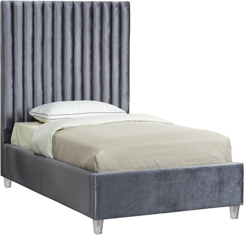 Candace Grey Velvet Twin Bed image