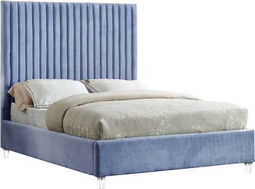 Candace Sky Blue Velvet Queen Bed