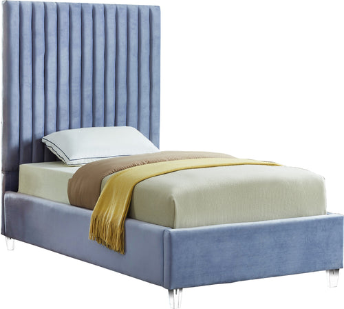 Candace Sky Blue Velvet Twin Bed