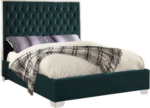 Lexi Green Velvet Queen Bed
