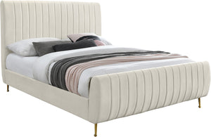 Zara Cream Velvet King Bed