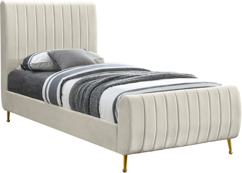 Zara Cream Velvet Twin Bed