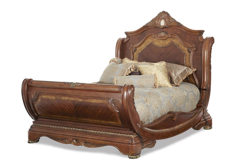 AICO Cortina Queen Sleigh Bed in Honey Walnut image