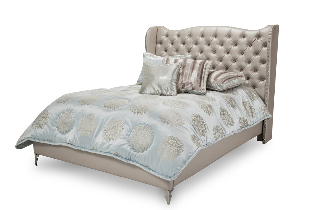 AICO Hollywood Loft King Upholstered Platform Bed in Frost image