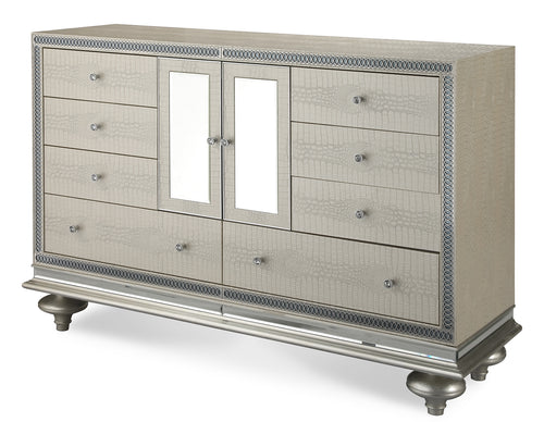 AICO Hollywood Swank Upholstered Dresser in Crystal Croc 03050-09 image