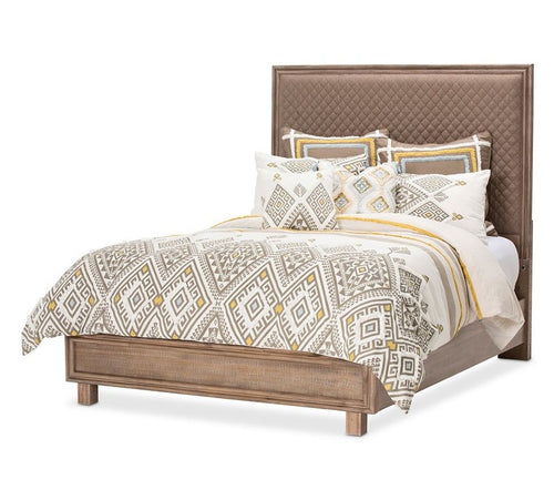AICO Hudson Ferry Eastern King Diamond-Quilted Panel Bed in Driftwood (Brown Fabric) KI-HUDF014EKB-216 image