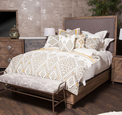 AICO Hudson Ferry Eastern King Diamond-Quilted Panel Bed in Driftwood (Gray Fabric) KI-HUDF014EKG-216 image