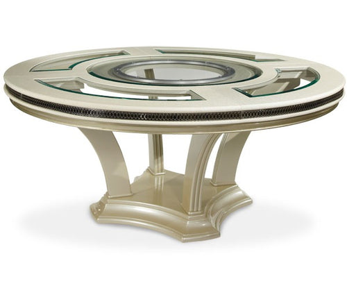 AICO Hollywood Swank Round Dining Table in Pearl Caviar image