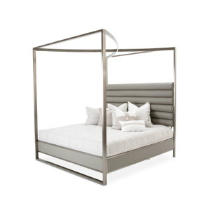 AICO Metro Lights Queen Metal Bed w/Post in Midnight 9010000QN-809 image