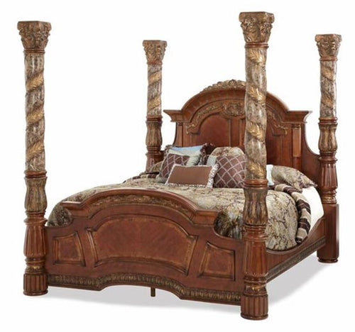 AICO Villa Valencia King Poster Bed with Canopy in Chestnut image