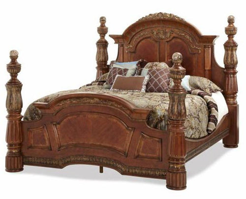 AICO Villa Valencia King Poster Bed in Chestnut image