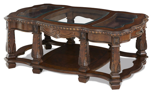 AICO Windsor Court Rectangular Cocktail Table in Vintage Fruitwood 70201-54 image