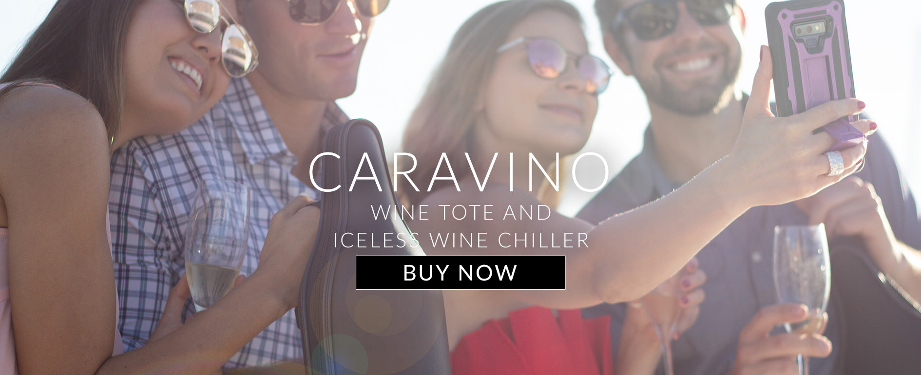 CaraVino genuine leather wine tote by ChillnJoy with  wine bottle chiller, adjustable shoulder strap, non-slip rubber base, rugged carrying handle, and a sommelier bottle opener.