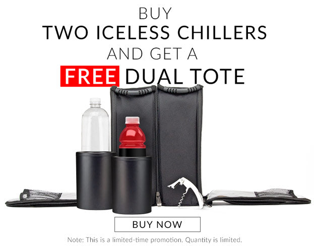 Buy two iceless chillers, get the CaddyO Dual Travel Tote FREE