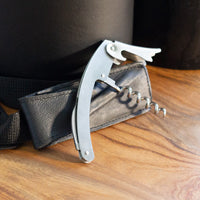 Stainless steel wine bottle opener comes with CaraVino Genuine Leather Wine Tote and Double-wall, Iceless Wine Bottle Chiller Set