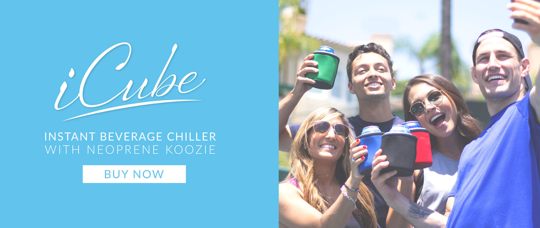 iCube Instant Beverage Chiller with Neoprene Koozie Sleeve by ChillnJoy