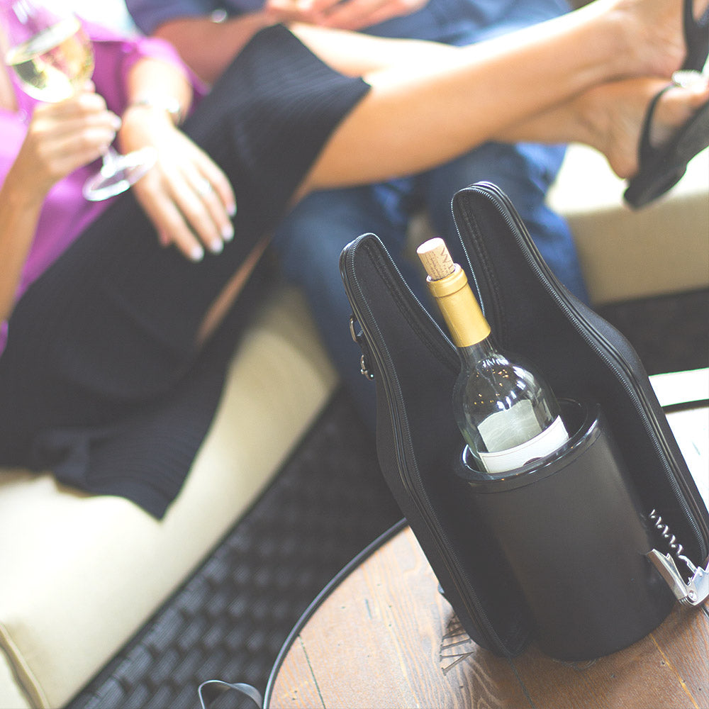 CaddyO  - Elegant Cloth Wine Tote & Iceless Wine Chiller Set - ChillnJoy - The QUICKEST Way to Cool