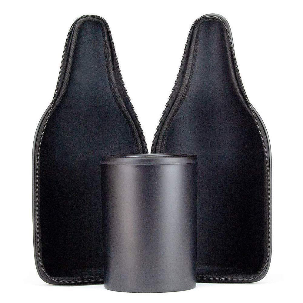 CaraVino Cloth Wine Tote and Double-wall, Iceless Wine Bottle Chiller Set with non-slip rubber base, adjustable shoulder strap, and sommelier bottle opener.  Infused with proprietary gel and rapidly chills room-temperature wine to 53 degrees within 30 minutes and keeps it chilled for up to 6 hours