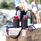 2-in-1 beverage and food storage for every occasion. Comes with: Two chillers, adjustable shoulder strap, and sommelier wine bottle opener.