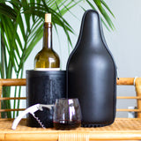 CaraVino Genuine Leather Wine Tote and Double-wall, Iceless Wine Bottle Chiller Set with carrying handle, shoulder strap, rubber base, and bottle opener by ChillnJoy.  Infused with proprietary gel to rapidly chill room-temperature wine to 53 degrees within 30 minutes and keeps it chilled for up to 6 hours