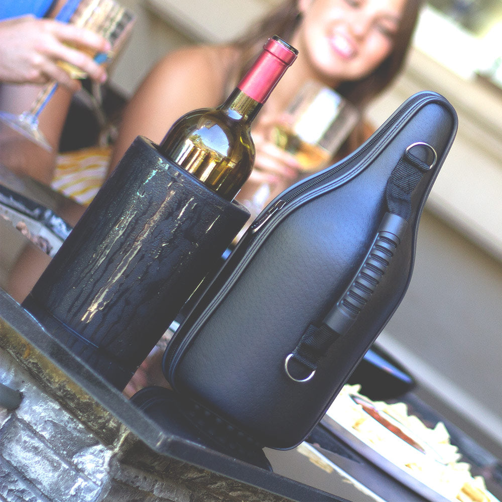 CaddyO Genuine Leather Wine Tote & Iceless Wine Chiller Set with sommelier bottle opener, adjustable shoulder strap, non-slip rubber base, and rugged carrying handle by ChillnJoy - The QUICKEST Way to Cool!