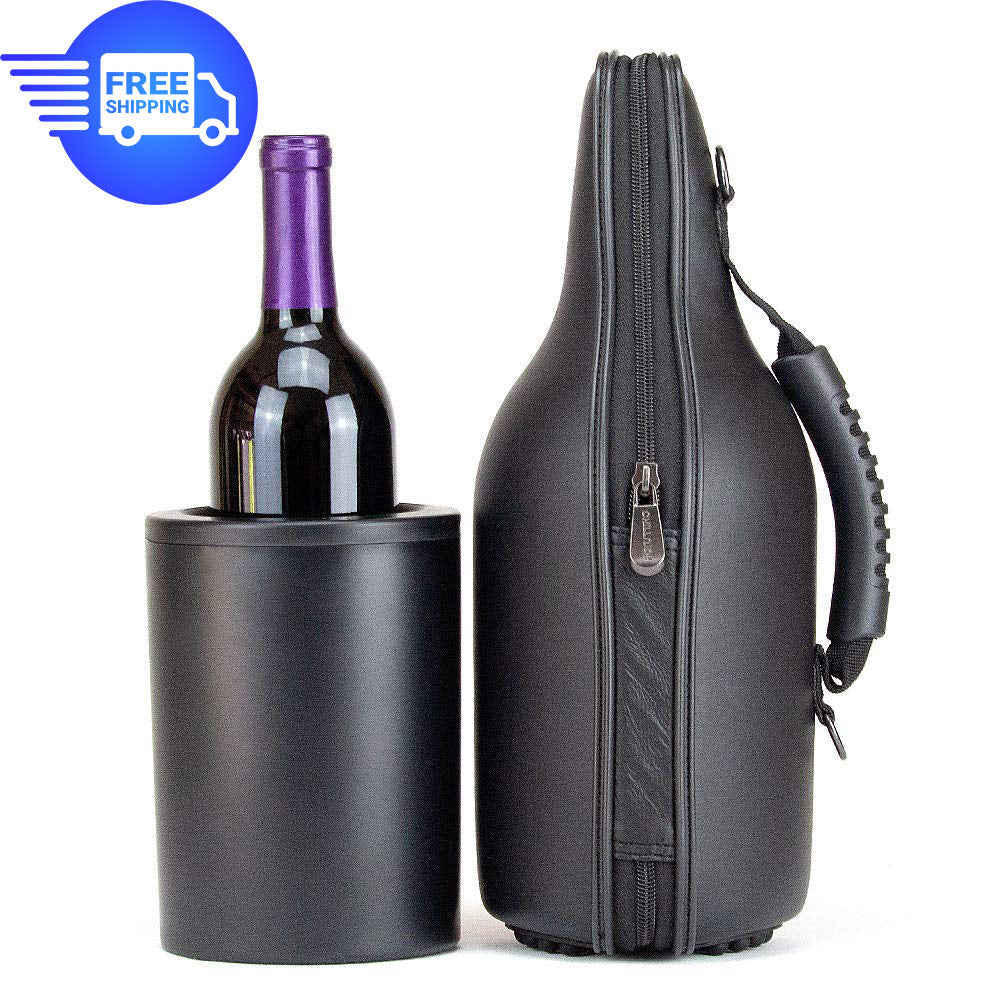 CaddyO Genuine Leather Wine Tote and Double-wall, Iceless Wine Bottle Chiller Set with adjustable shoulder strap, non-slip rubber base, rugged carrying handle, and sommelier bottle opener by ChillnJoy. Chills room temperature wine to 53 degrees within 30 minutes and keeps it chilled for up to 6 hours