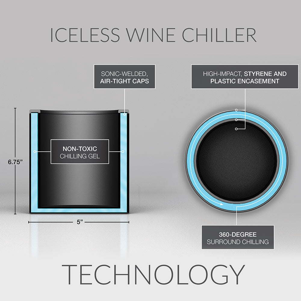 Double-wall, gel-infused, iceless wine bottle chiller by ChillnJoy rapidly chills room-temperature wine to 53 degrees within 30 minutes, and keeps them chilled for hours.