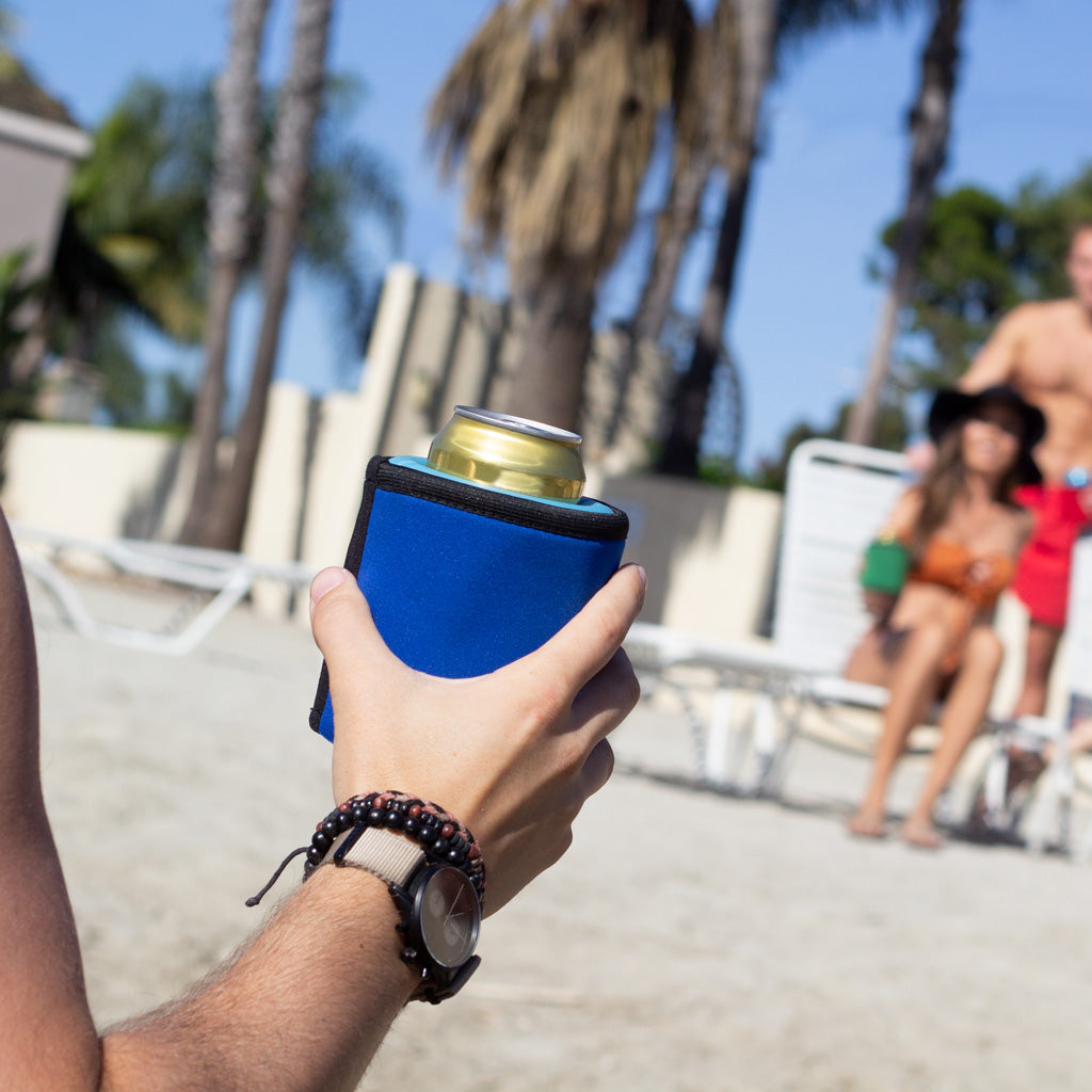 The iCube gel-infused beverage chiller - revolutionary cooling technology with the comfort of a neoprene sleeve. No ice = no mess! 4 colors: red, green, blue, black