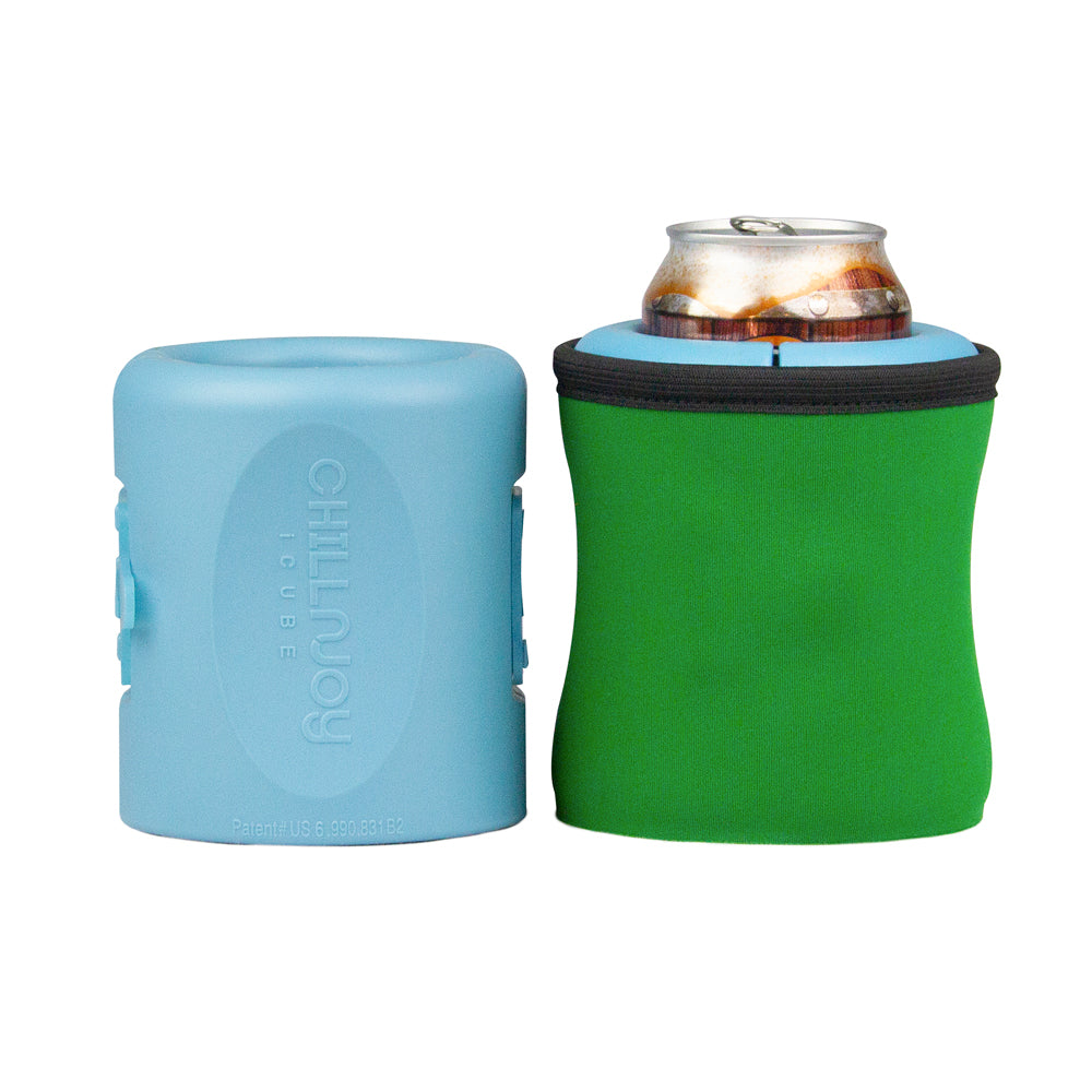 [Gel-infused, double-wall iceless beverage chiller with neoprene sleeve by ChillnJoy brings room-temperature canned beverages to 42 degrees within 30 minutes and keeps it chilled for up to 6 hours. ]-ChillnJoy - The QUICKEST Way to Cool