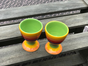 Hand painted rainbow egg cup