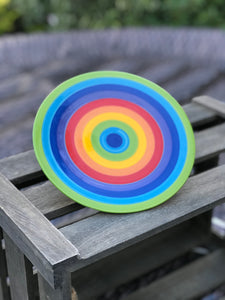 Hand painted rainbow side plate
