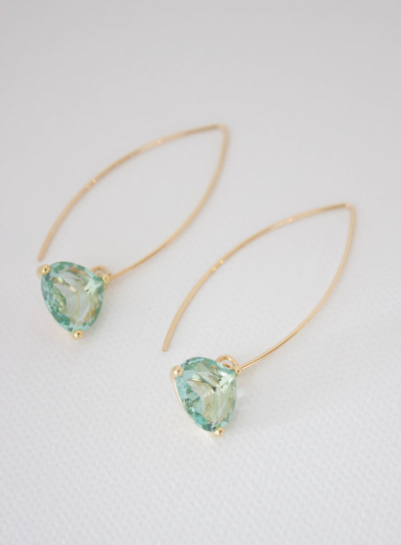 Aqua Quartz Triangle Bezel With Long Loop Earring
