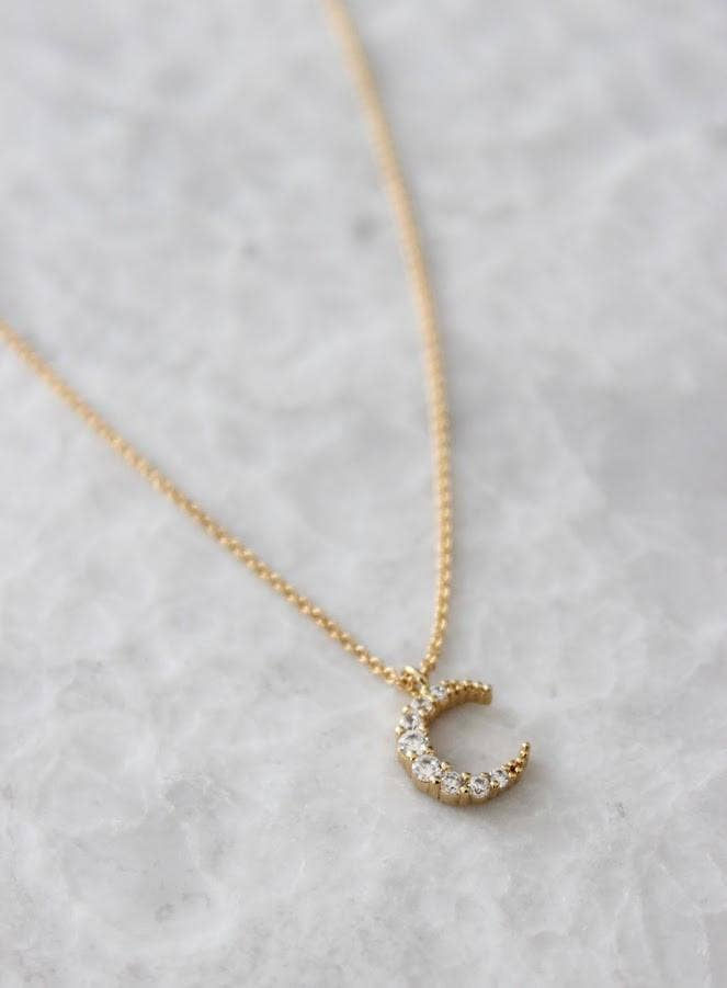 Petite CZ Moon Necklace