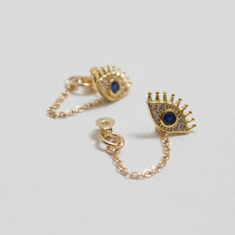 Gold Plate Evil Eye Stud With Gold Filled Chain Loop