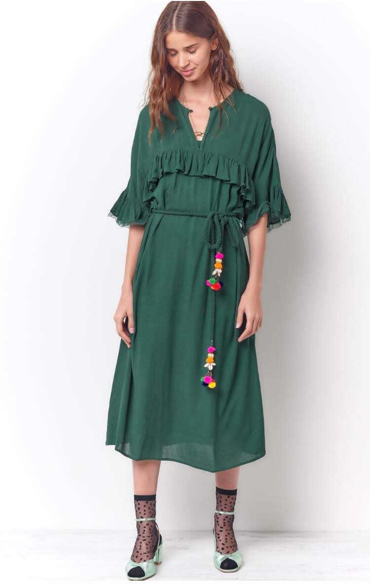 Olive Ruffle Gauze Dress