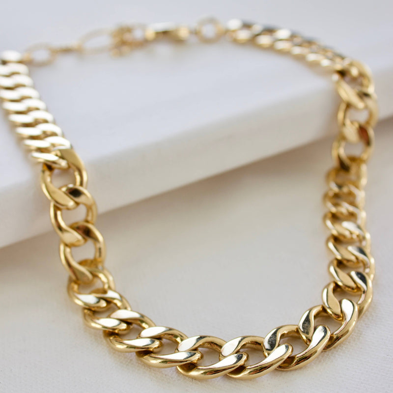 24K Gold Plate Statement Cable Chain Necklace